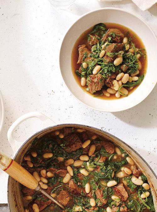Bœuf mijoté aux épinards  et aux haricots blancs Recettes | Ricardo