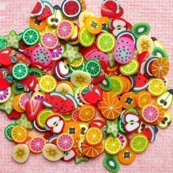 Fruit Polymer Clay Cane Slices Mix Fruit Fimo Cane Miniature Sweets Decoden Kawaii Nail Art Decoration Scrapbooking (190pcs)