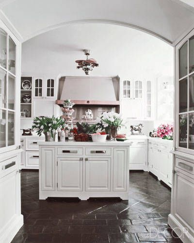 White Kitchen Cabinets Brown Tile Floor: Manhattan Kitchen By Decorator James Aman Terra-cotta Floor Tiles Stained Chocolate Brown—an