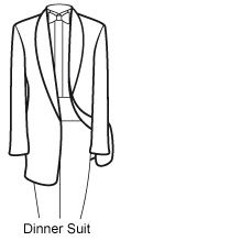 Know Your Suits Dinner Suits, also described as Tuxedos, DJ's or Evening Dress, are the must have for the Black Tie event. The inclusion of Satin, normally on the lapels and in a stripe down the side of the trousers, distinguishes Dinner Suits from other styles of suit. Available in both black and off-white (perfect for Summer balls or cruises),