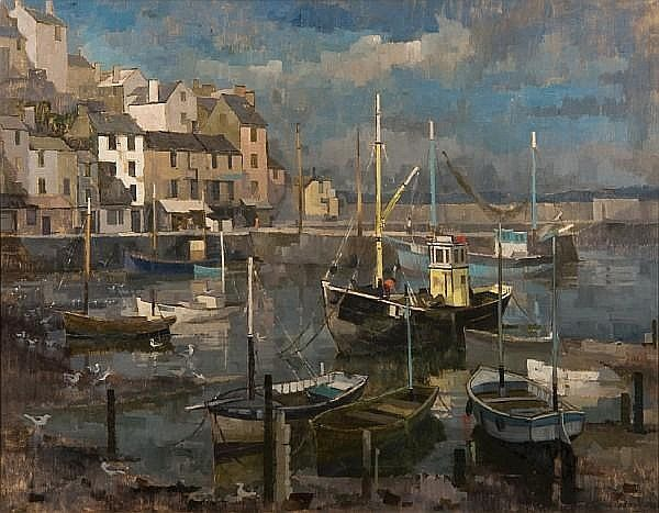 Michael Cadman (1920-2010) Boats in Brixham Harbour