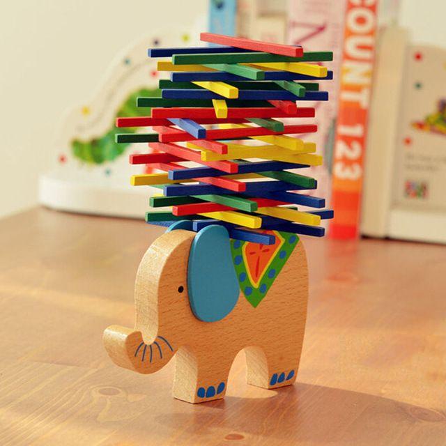Elefante bebê brinquedos educativos / brinquedos de madeira de faia de madeira jogo de equilíbrio de Montessori presente para criança