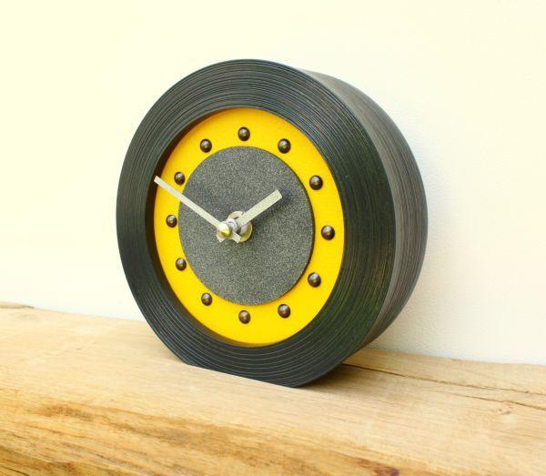 Yellow Mantel Clock in Black Frame