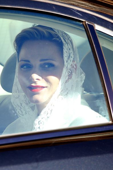 Princess Charlene of Monaco leaves the Apostolic Palace after an audience with Pope Francis on January 18, 2016 in Vatican City, Vatican.