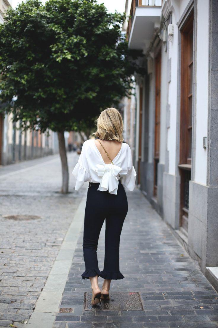 look con pantalones culotte de Zara con volantes