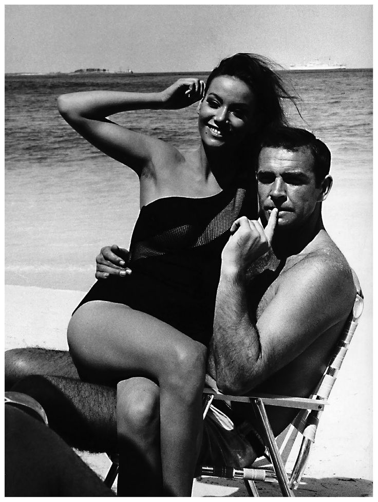 "Sean Connery and Claudine Auger. (On the set of ""Thunderball,"" c. 1965.)"