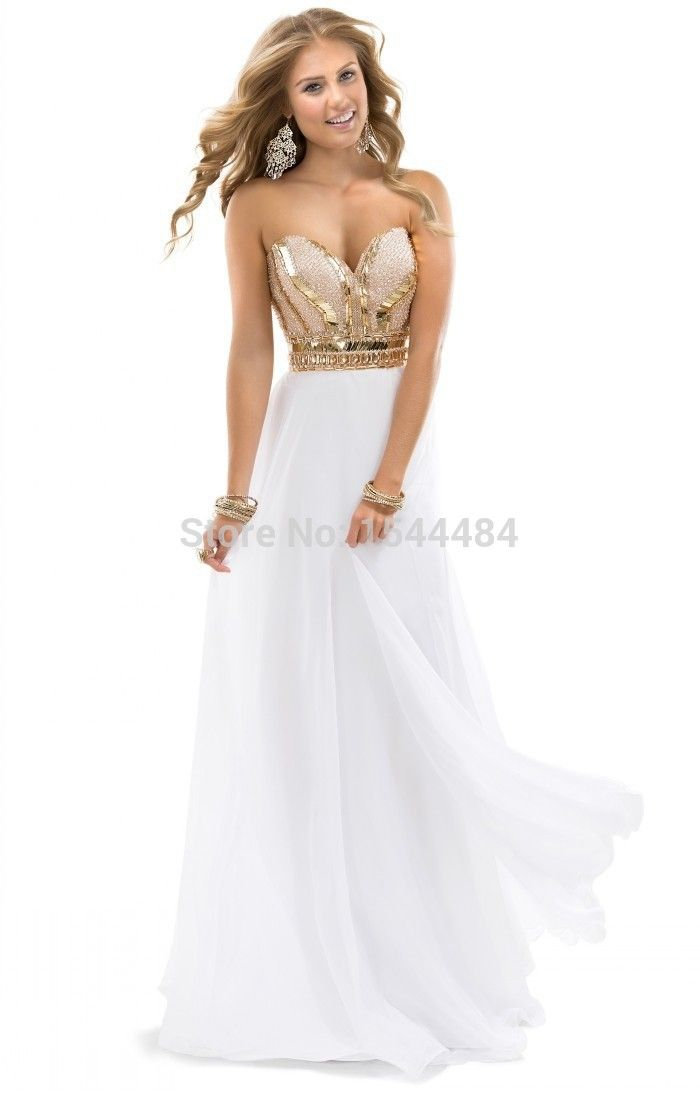 Find More Evening Dresses Information about 2015 Free Shipping  floor length   Noble Beaded Sweetheart Chiffon White Rose Gold Sparkle Party Gowns Evening Dress,High Quality gown evening dress,China dresses gown Suppliers, Cheap dress pewter from Hui Ruya on Aliexpress.com