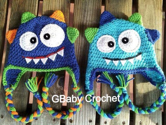 VENTA de ganchillo bebé sombrero de monster azul 0-5T