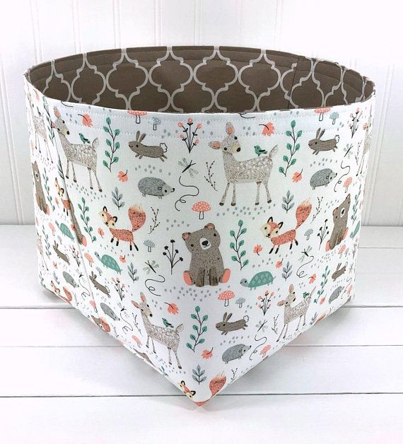 Woodland Nursery Fabric Storage Basket Fox Nursery Decor Organizer Storage Bin Mint And Gray Deer Bears And Fox Large 10 X 10 In 2020 Fabric Storage Baskets Nursery Storage Baskets Woodland Room Decor