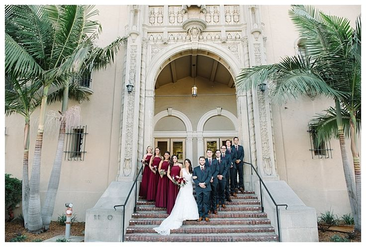 Wedding party captured on stairs outside Ebell Club | Brooke Bakken BlogEBell Club Wedding | Jen + Josh | Long Beach California Photography