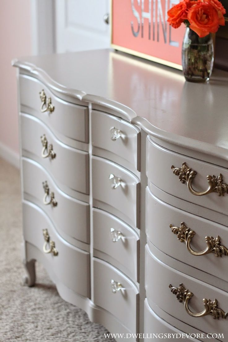 French Provincial dresser makeover, Behr Marquee Graceful Gray