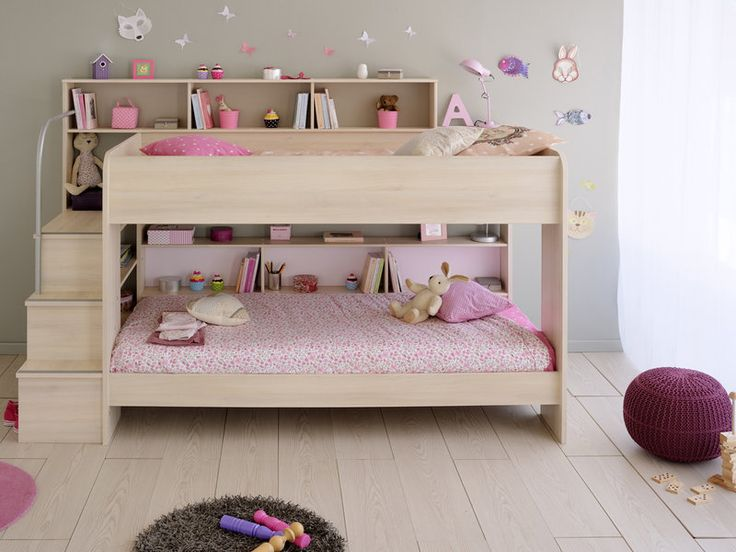 This stylish contemporary bunk bed from Parisot comes in an attractive Acacia foil effect finish with super stylish reversible Cappuccino and Rose back panels.