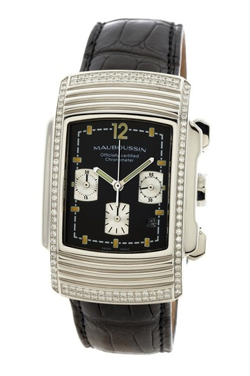Mauboussin Men's/Unisex Fouga Diamond Watch with Black Strap