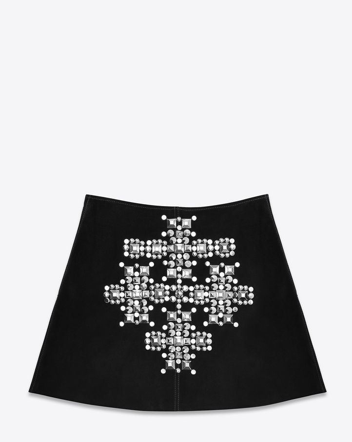 saintlaurent, Studded Cross Trapèze Mini Skirt Black Suede and Silver-Toned Metal
