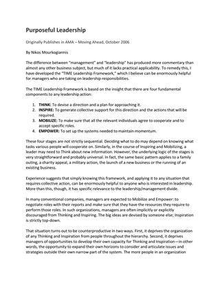"""#ΝίκοςΜουρκογιάννης: Άρθρο """"Purposeful leadership"""""""