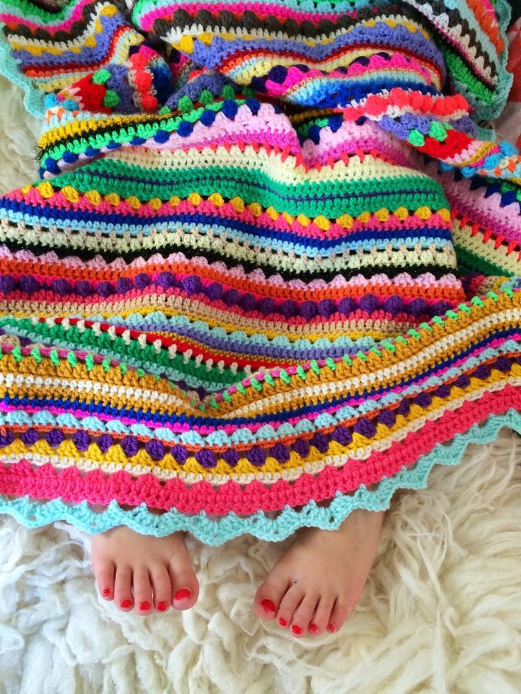 Colorful Crochet Blanket - great inspiration for ways to use up leftover yarn