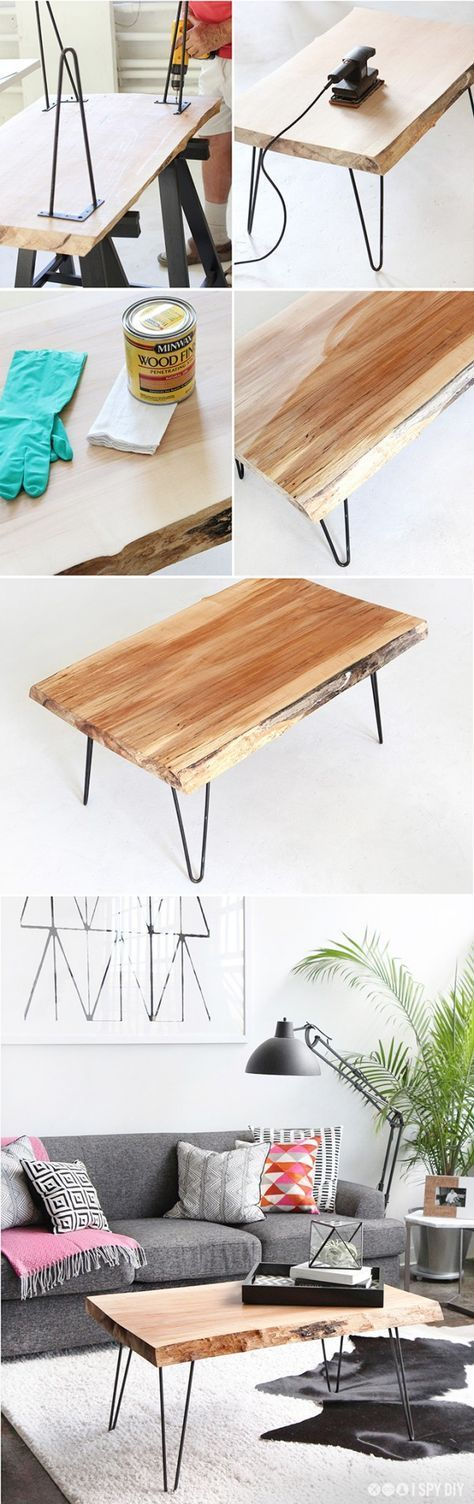 DIY Wood Slab Coffee Table with hairpin legs