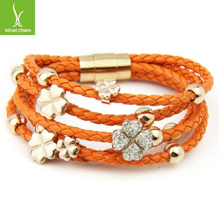 Alibaba экспресс горячая распродажа кожа оберните 18 К роуз позолоченные браслет для женщины четыре листа клевера кристалл ювелирные изделия шарма PI0697купить в магазине Bamoer Jewelry--Famous Brand in ChinaнаAliExpress