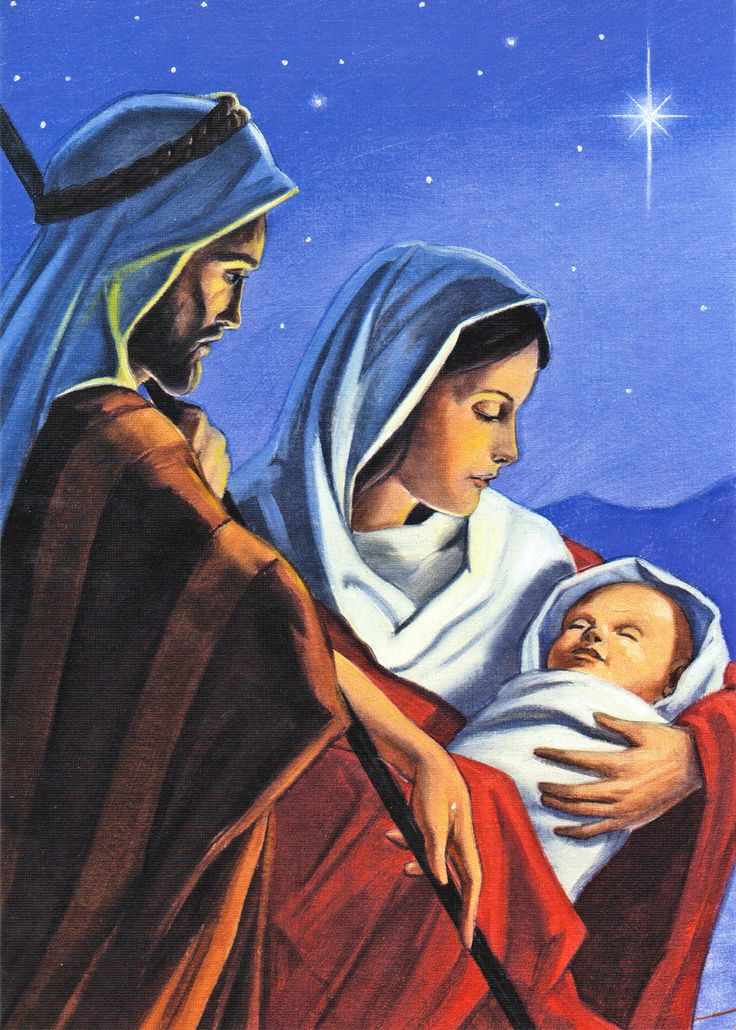 Joseph, Mary, and baby Jesus    ...artist not listed...