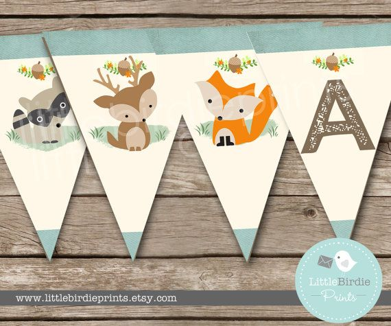 WOODLAND Baby Shower Decorations Bunting // Woodland Birthday party Banner Bunting Fox Deer Raccoon It's a boy. Instant Download All letters