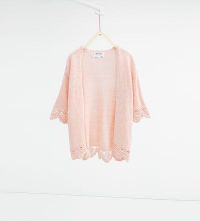 Image 1 of Crochet knit cardigan from Zara