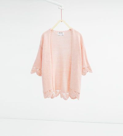 Image 1 of Crochet knit cardigan from Zara
