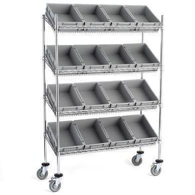 Estantería en acero cromado con estantes inclinados y con cajas Eurobox  http://www.esmelux.com/estantería-cromada-con-cajas-eurobox