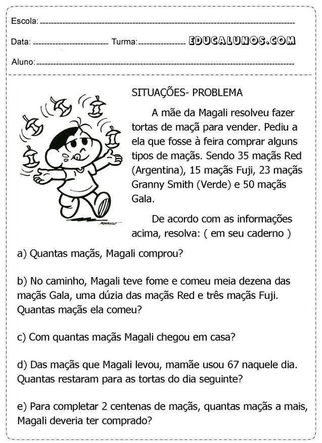 Blog Professor Zezinho : Atividades de Matemática 3° ano para Imprimir