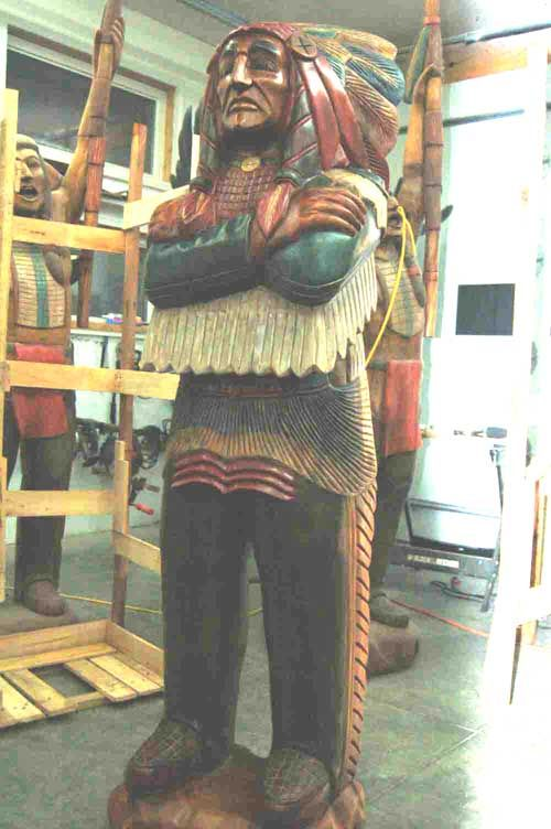wooden store indian | Wooden Indian Wood Cigar Store Chief Life Size 6' Signature Series ...