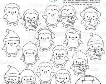 Cool Penguins Digital Stamps by pixelpaperprints on Etsy