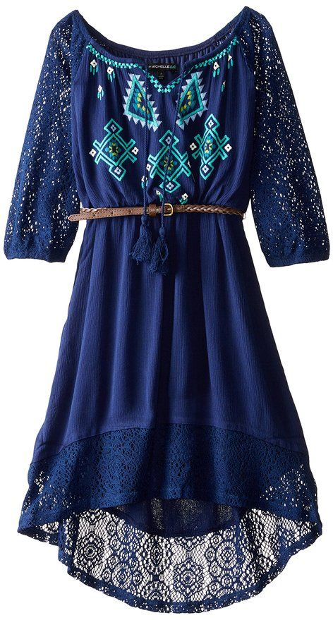 Click here to purchase :   My Michelle Big Girls' Peasant Dress with Crochet Sleeves and Hem with Embroidered Front and Belt, Navy/Navy, 16