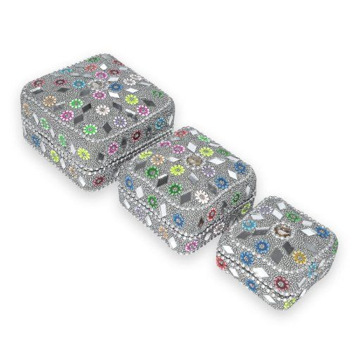 Indian Gift Home Decor Silver Square Shape Jewellery Boxes Handmade Lac Beaded Material Table Top Vintage Style Decorative Box Set of 3 Pcs Antique Pill Box DakshCraft http://www.amazon.co.uk/dp/B00ASIRW9G/ref=cm_sw_r_pi_dp_I4Kfwb1NGWEDY