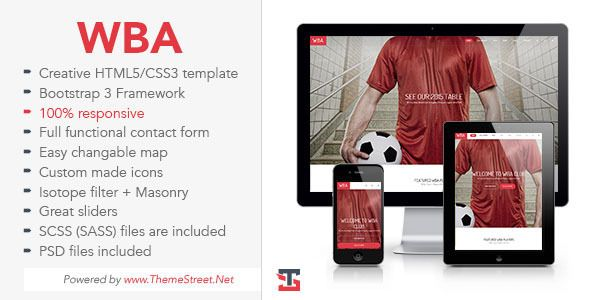 WBA – Sport HTML5 Template is perfect full responsive multipurpose and multi-page HTML5...