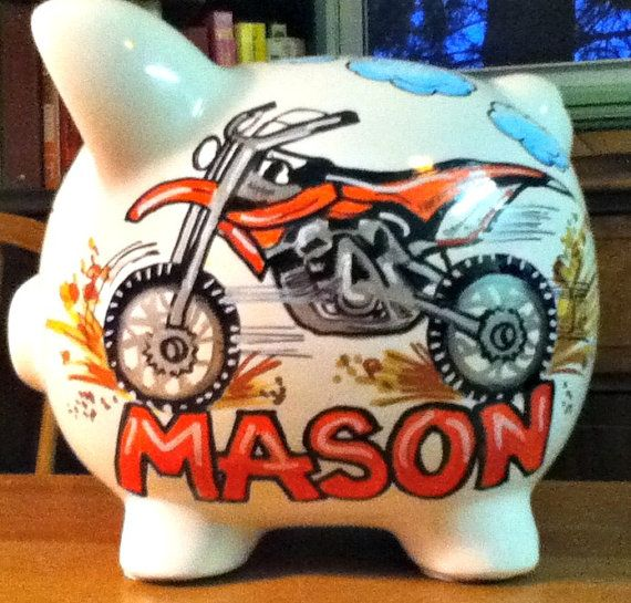 Personalized Piggy Bank Dirt Bike Design by StymiepieStudios, $32.00