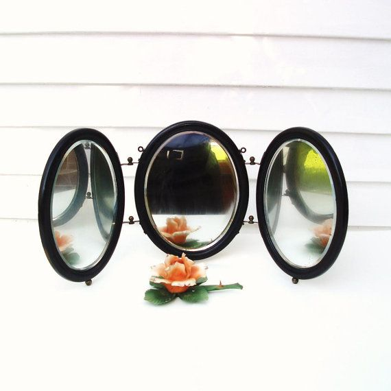 Antique Tri Fold Mirrors Shaving Round 3 Way Wood by WhimzyThyme