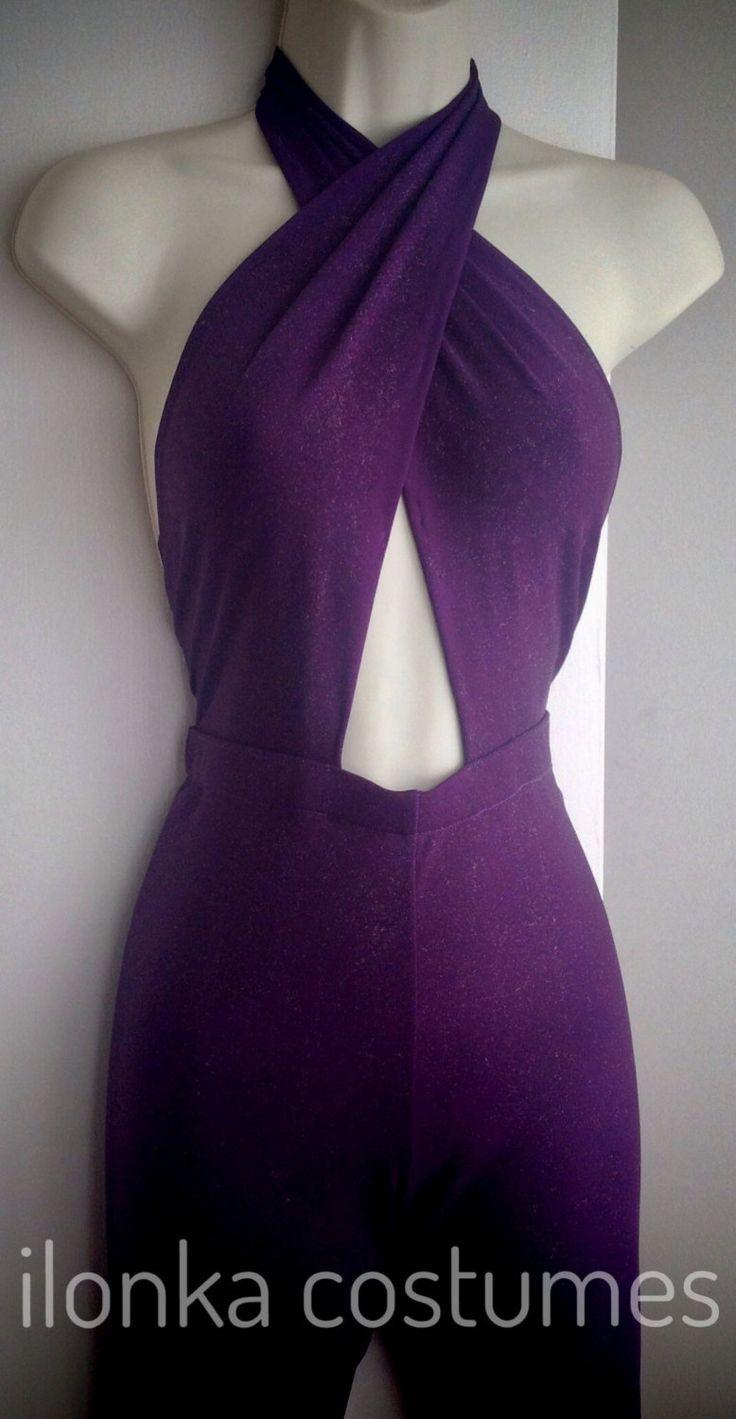 Selena Costume purple criss cross jumpsuit only by IlonkaDesigns