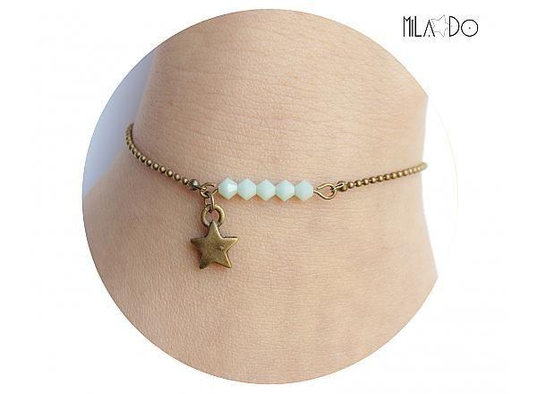 Bracelet Eléa - Perles toupies Cristal Swarovski vert menthe et Etoile laiton