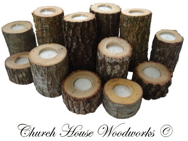 Tree Branch Candle Holders, Rustic Wedding Candle Holders, Rustic Wedding Centerpieces, Wood Candle Centerpieces. $36.95, via Etsy.