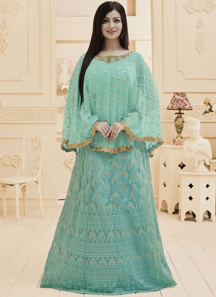 Buy bollywood salwar kameez online with the finest collection of indian salwar suit. Order this Ayesha Takia faux georgette and net floor length anarkali suit for festival and party