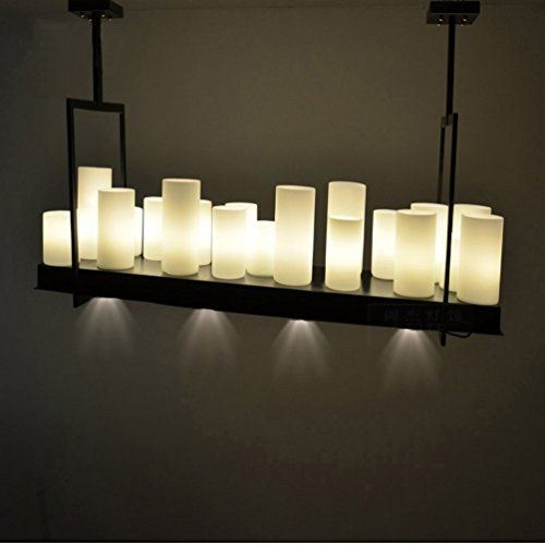 Black Candle Ceiling Lights : Aiwen rectangular wrought iron chandelier candle light