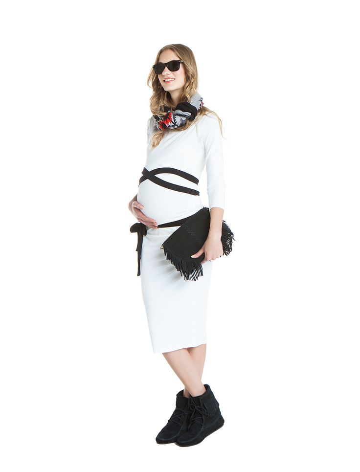 Dione jersey dress with self tie jersey belt - day&night - during&after pregnancy - black&white cool mum - check now! www.nanarisematernity.com