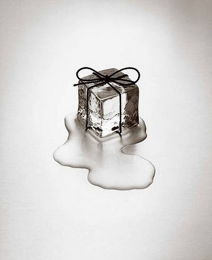 ice cube present? material goods melts away....
