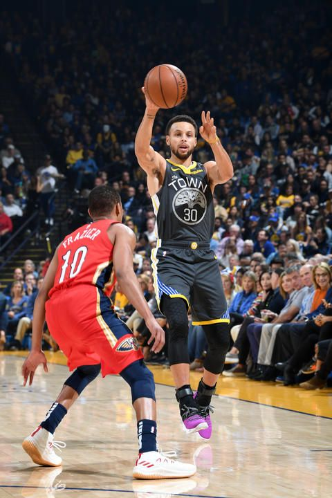 online retailer 0ba1e 6d2bb OAKLAND, CA - OCTOBER 31  Stephen Curry  30 of the Golden State Warriors  passes the ball against the New Orleans Pelicans on October 31, 2018 at  ORACLE ...