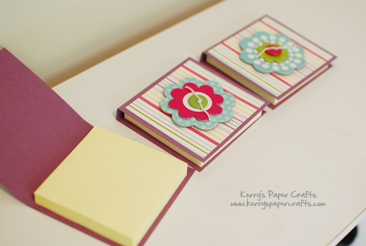 post it holders Dimensions of the cardstock base: 7″ x 3.5″. Score the cardstock at 3.25″ and 3.75″. Cut the designer paper insert to 3″ x 3.25″. Fold, decorate, and slap your post-it inside.