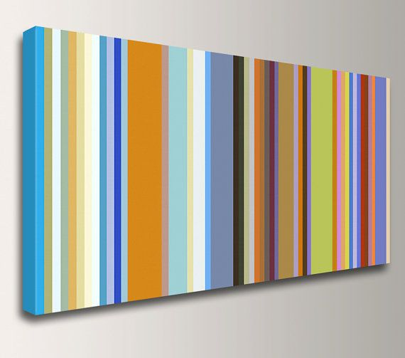 Wall Decor With Stripes : Stripes line art colorful canvas print retro modern