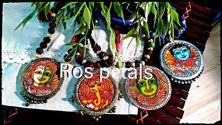 Hand painted Kerala mural Terracotta pendant set from Ros petals