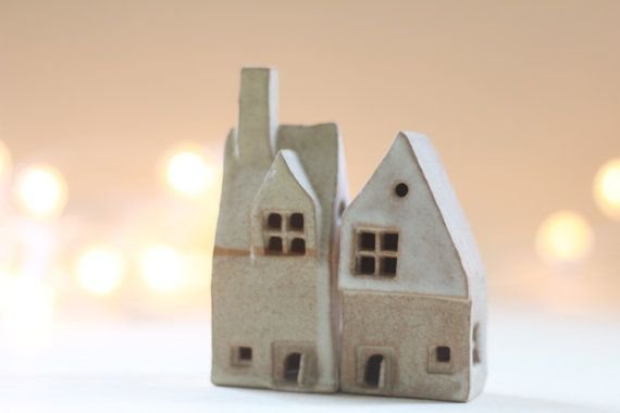 Ceramics and pottery, ceramics and pottery houses 2 little houses, British cottages UK Sellers. Little houses.  housewarming gift