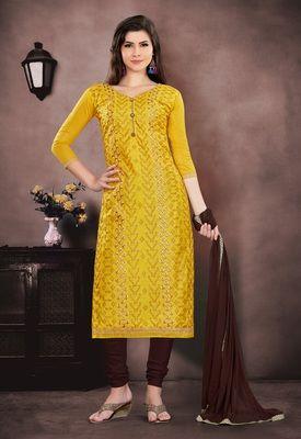 8c95b31ac9 Mustard embroidered chanderi salwar with dupatta unstitched in 2019 ...
