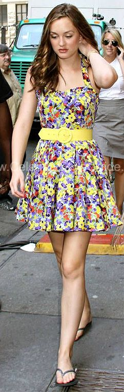 Leighton Meester as Blair in Alice + Olivia Terry Halter Dress with Belt at ShopBop.com.