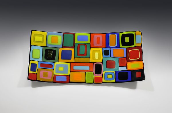Rectangular+Carnival+Bowl by Helen+Rudy: Art+Glass+Bowl available at www.artfulhome.com